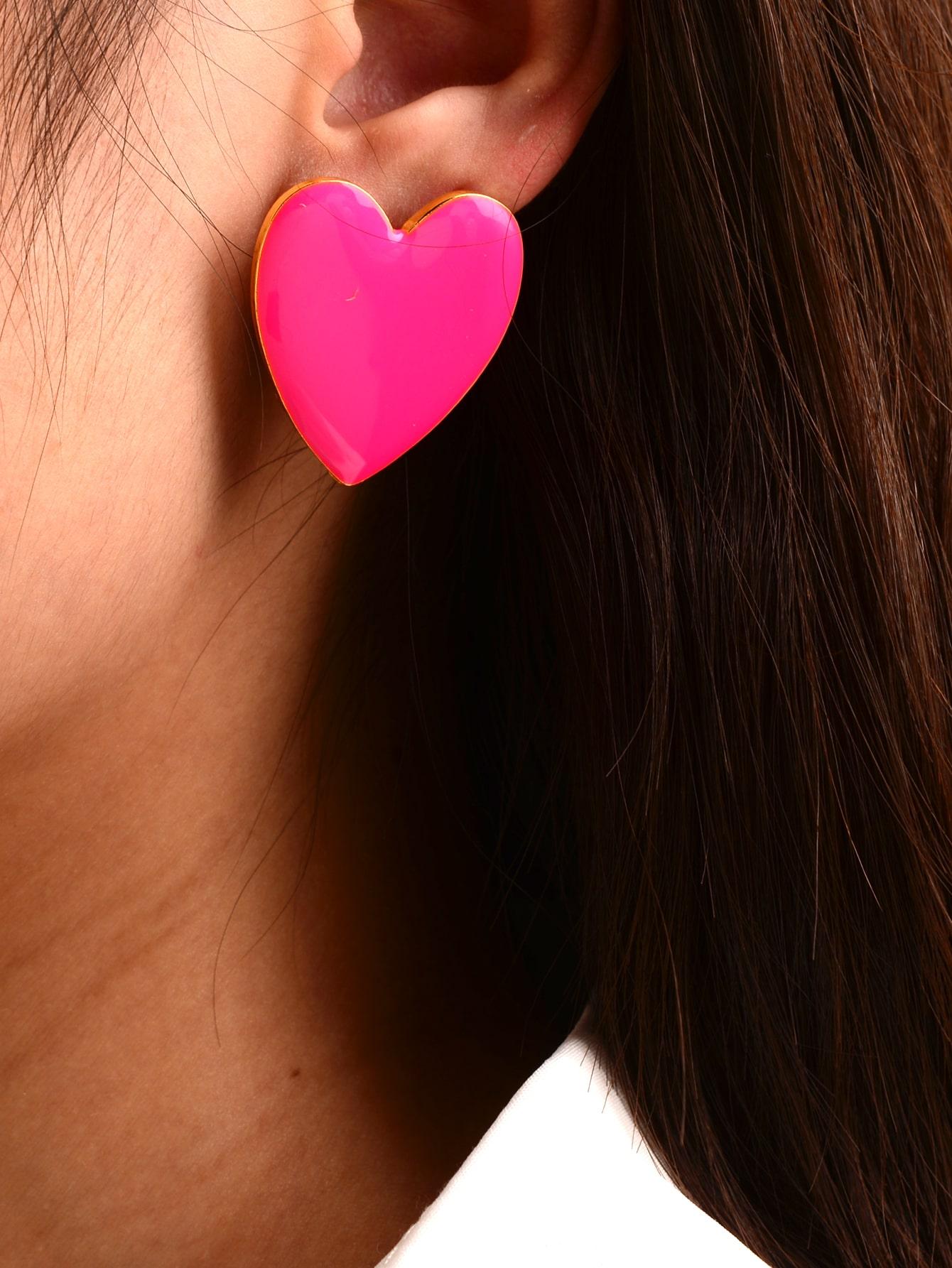 Heart Shaped Dripping Oil Stud Earrings thumbnail