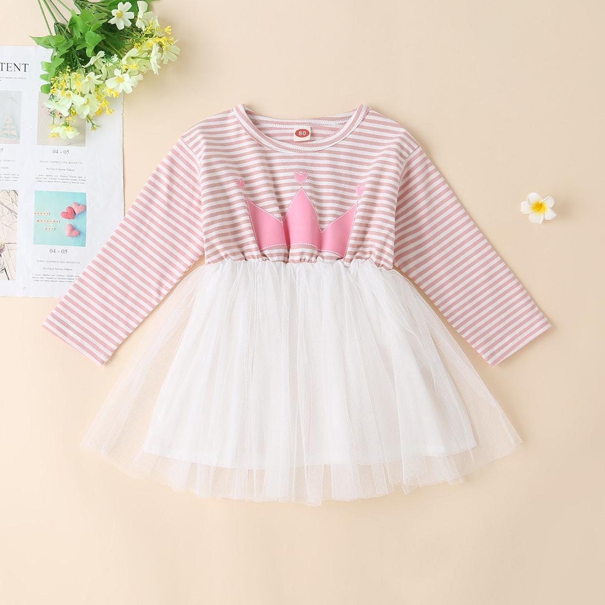Контрастная сетка Полоска милый Платья для малышей от SHEIN
