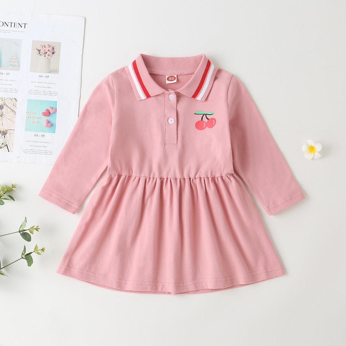 Нежний Розовый Однобортный Полоска Повседневный Платья для малышей от SHEIN