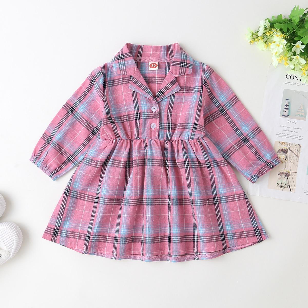 Розовые Однобортный шотландка Институтский Платья для малышей от SHEIN