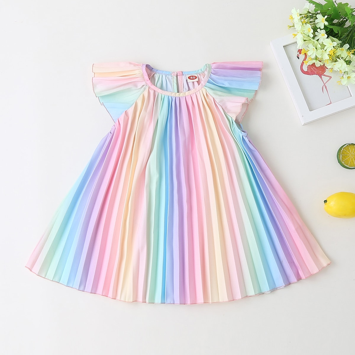 многоцветный плиссированное цвет хамелеон милый Платья для малышей от SHEIN