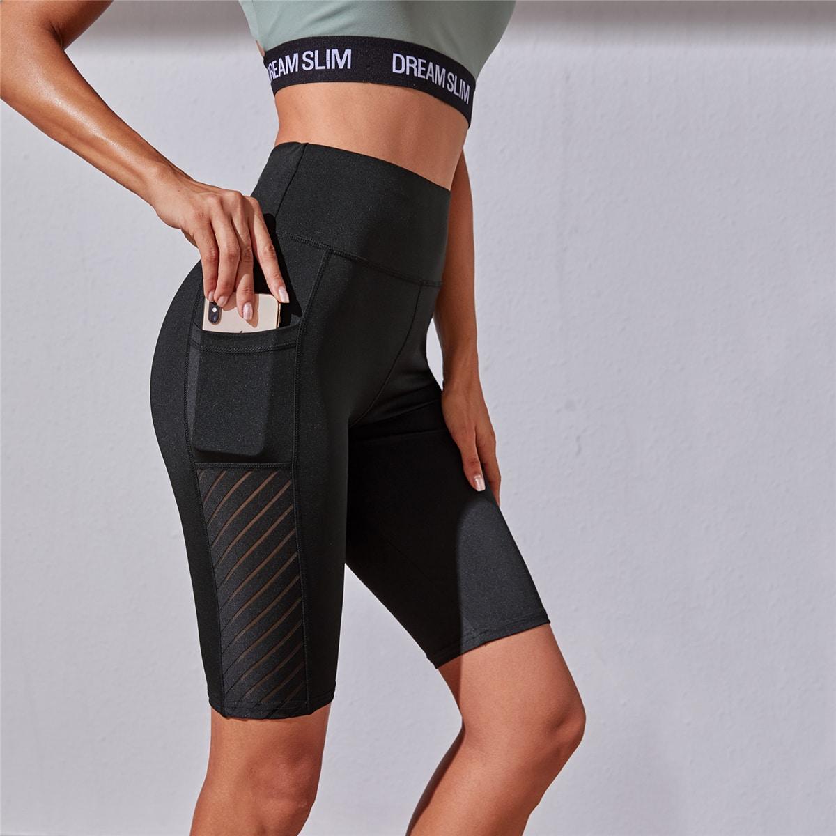 Чёрный с карманами Одноцветный Спортивные шорты