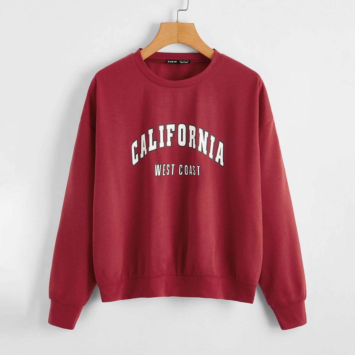 Пуловер с текстовым принтом
