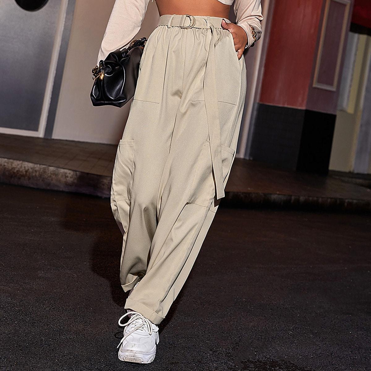 Однотонные брюки с поясом и карманом