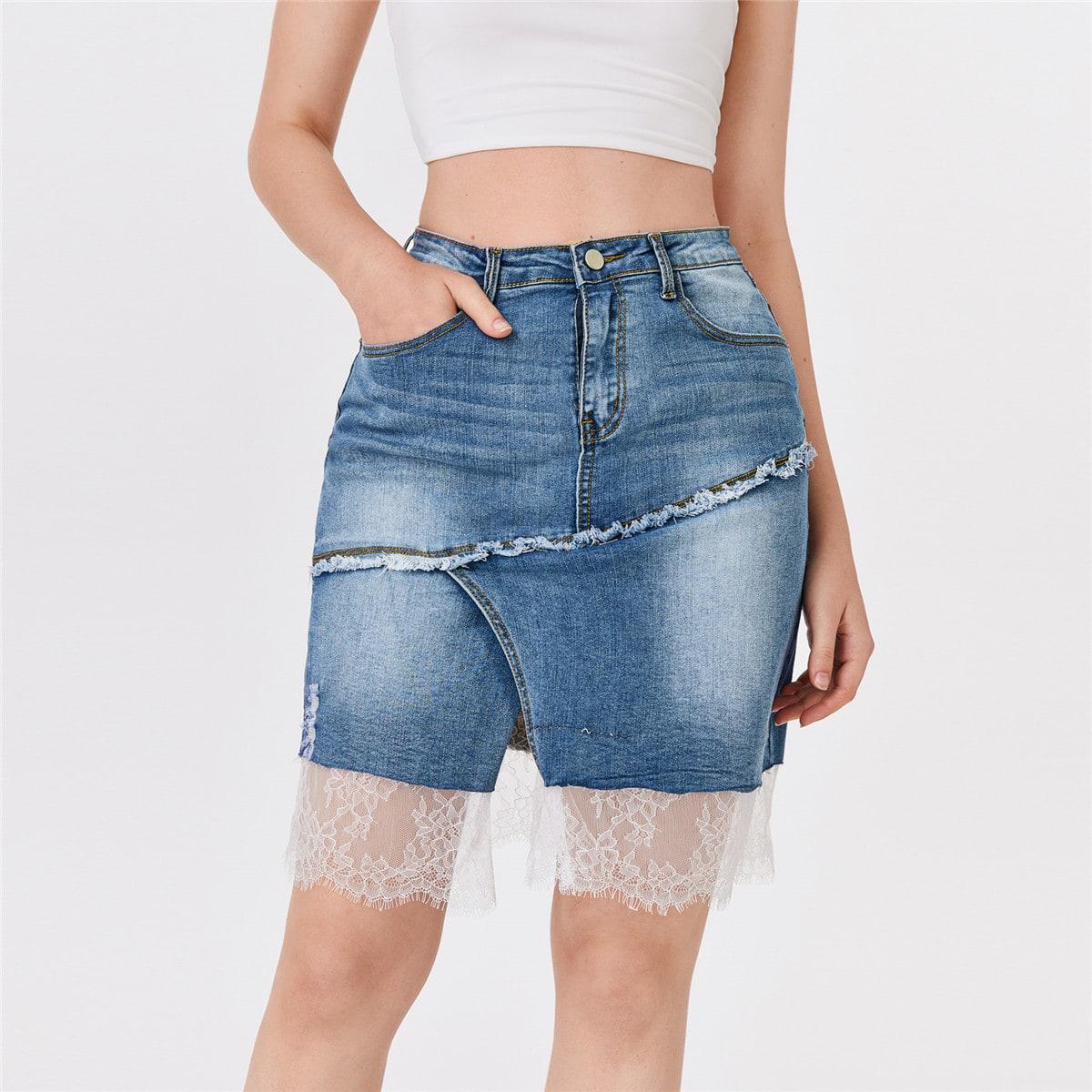 Джинсовая юбка с кружевным краем