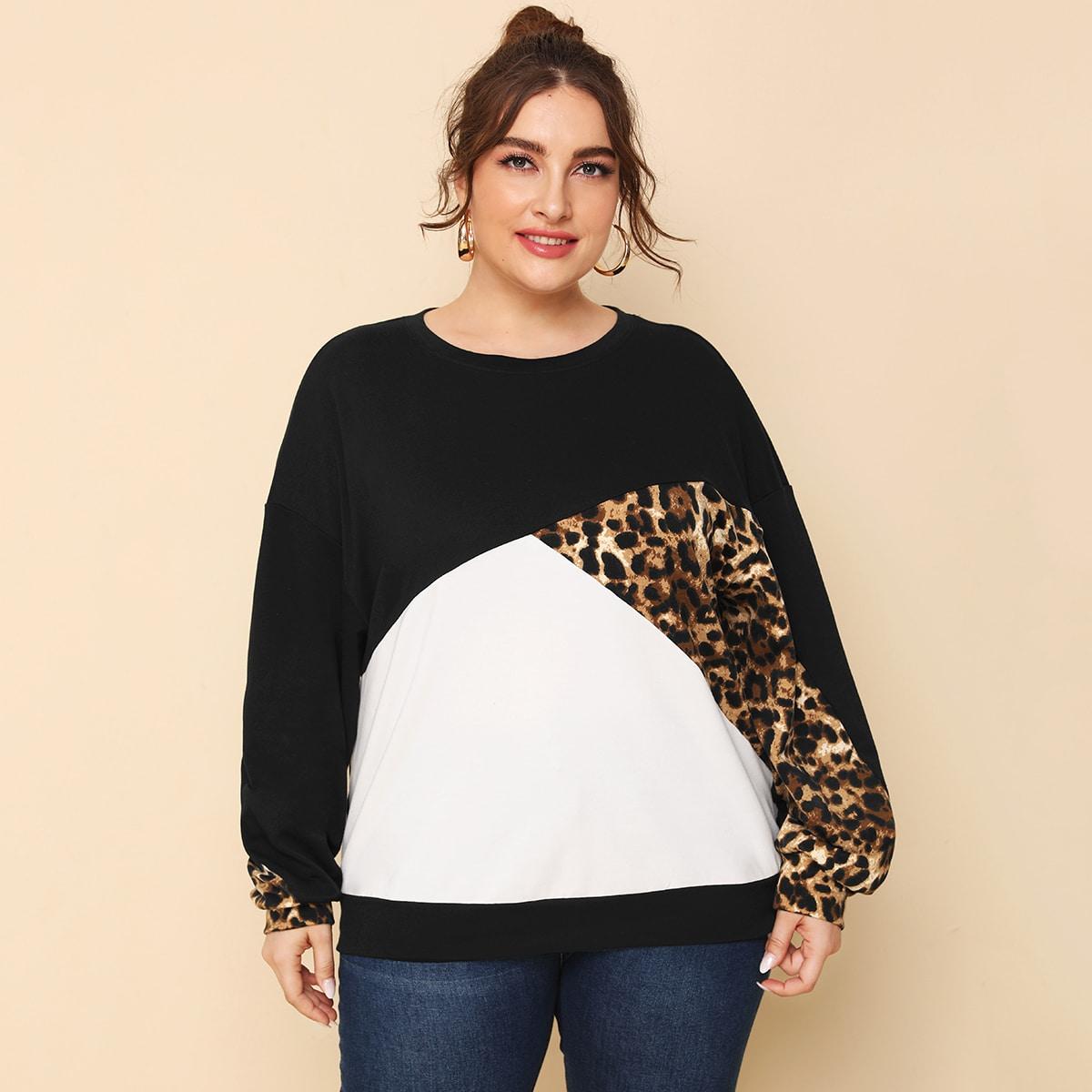 Контрастный пуловер размера плюс с леопардовым принтом