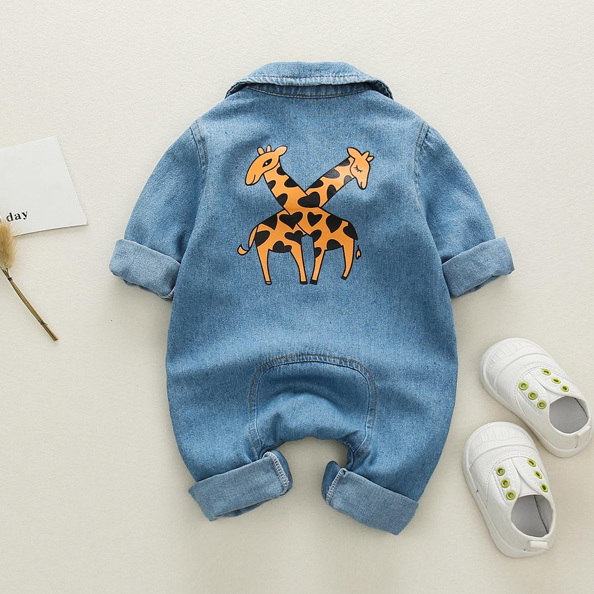 Средний Синий Умывания Однобортный Одноцветный Деним для малышей от SHEIN