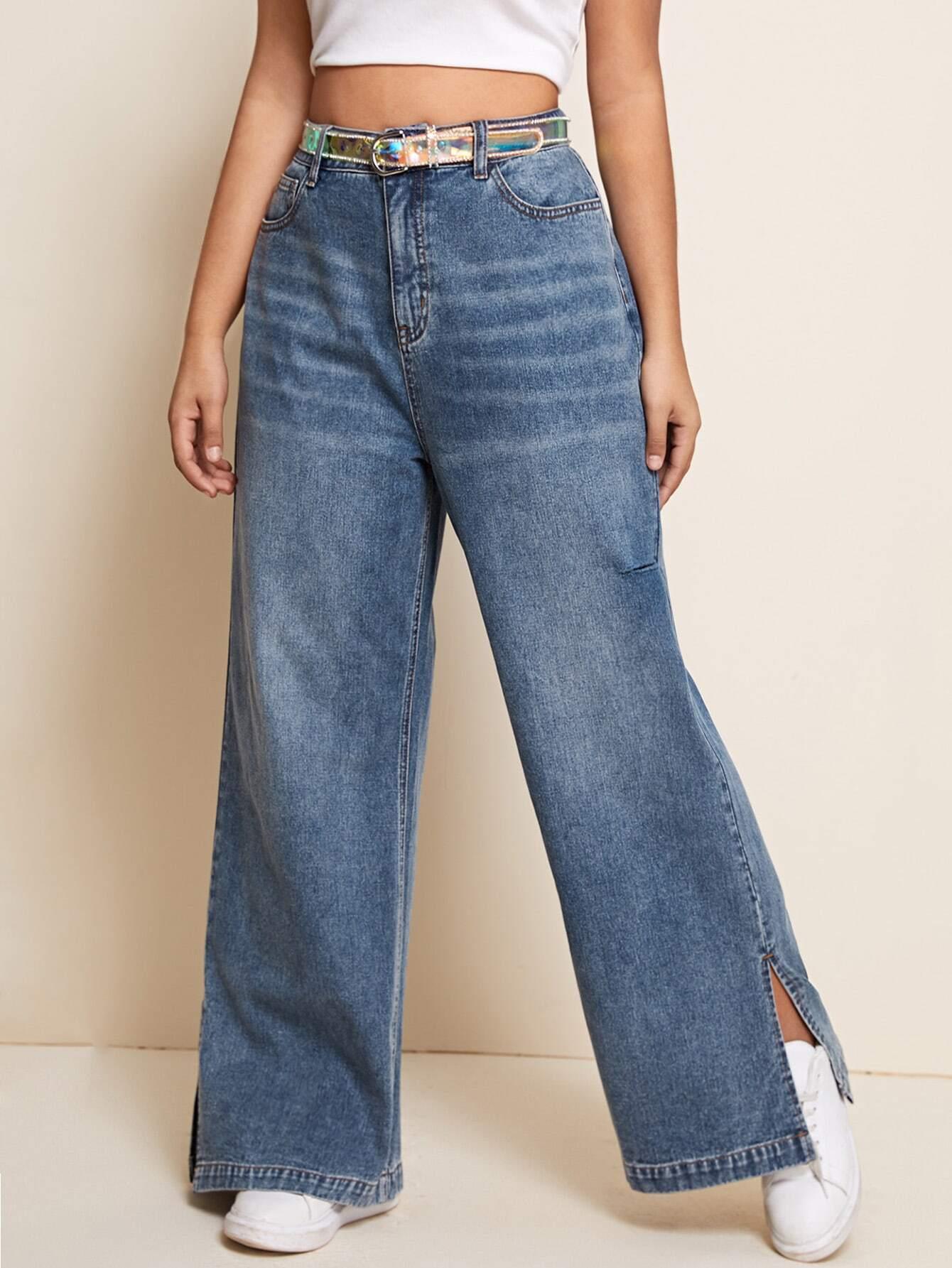 Plus Slant Pocket Split Hem Jeans Without Belt thumbnail