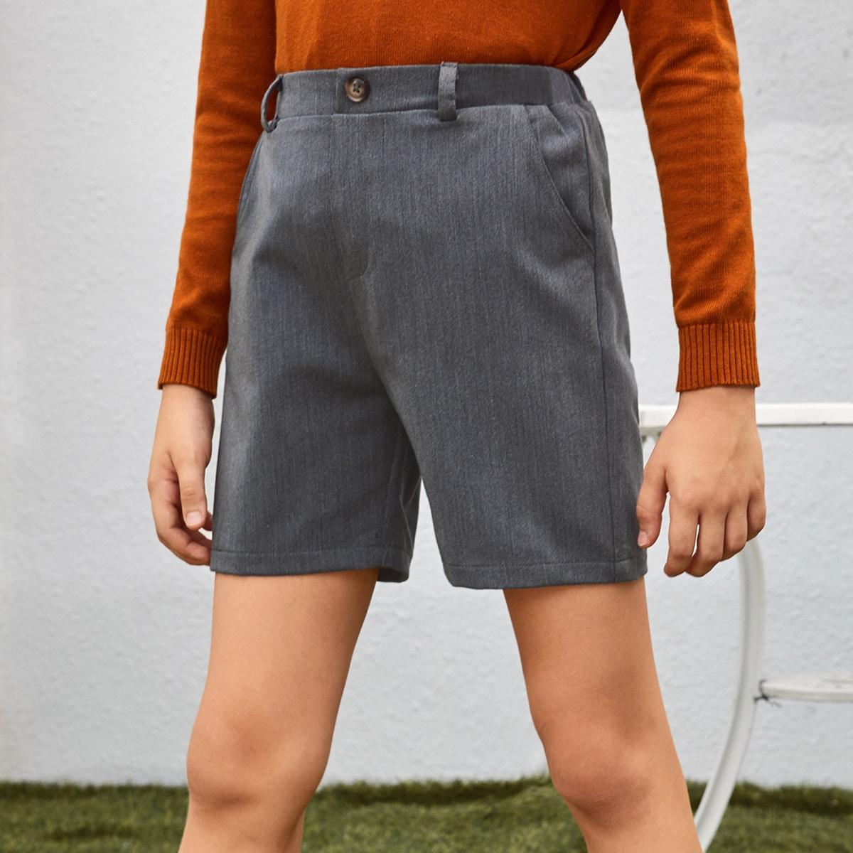 Однотонные шорты с карманом для мальчиков