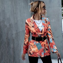 Abstract Print Lapel Collar Blazer Without Belt