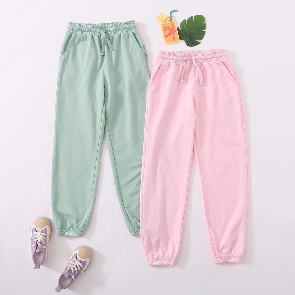 2 пакета однотонные спортивные брюки на кулиске для девочек
