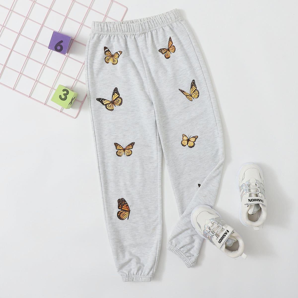 Спортивные брюки с принтом бабочки для девочек