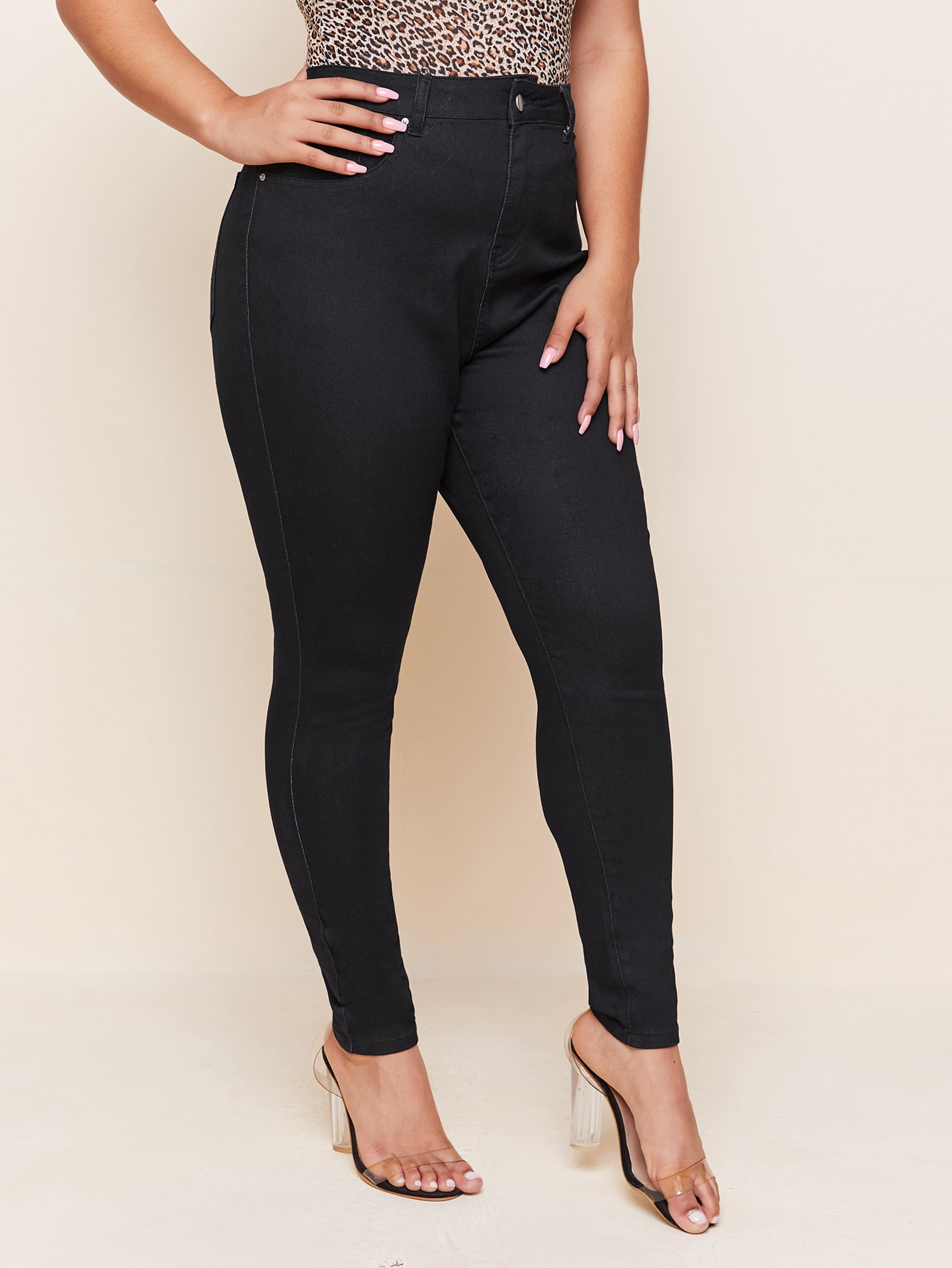 Plus Slant Pocket Skinny Jeans thumbnail