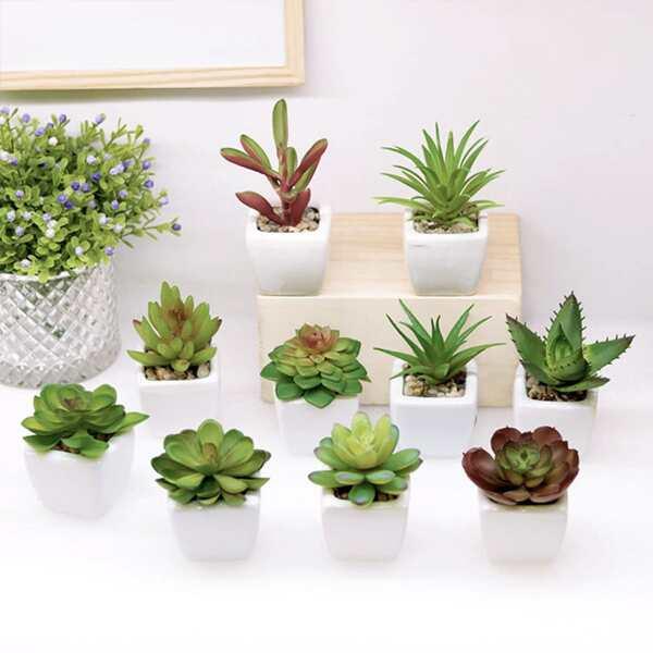 1pc Random Artificial Potted Plant, Multicolor