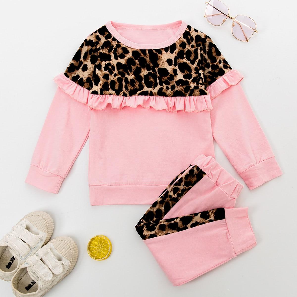 Нежний розовый оборка леопард повседневный комплекты для девочек