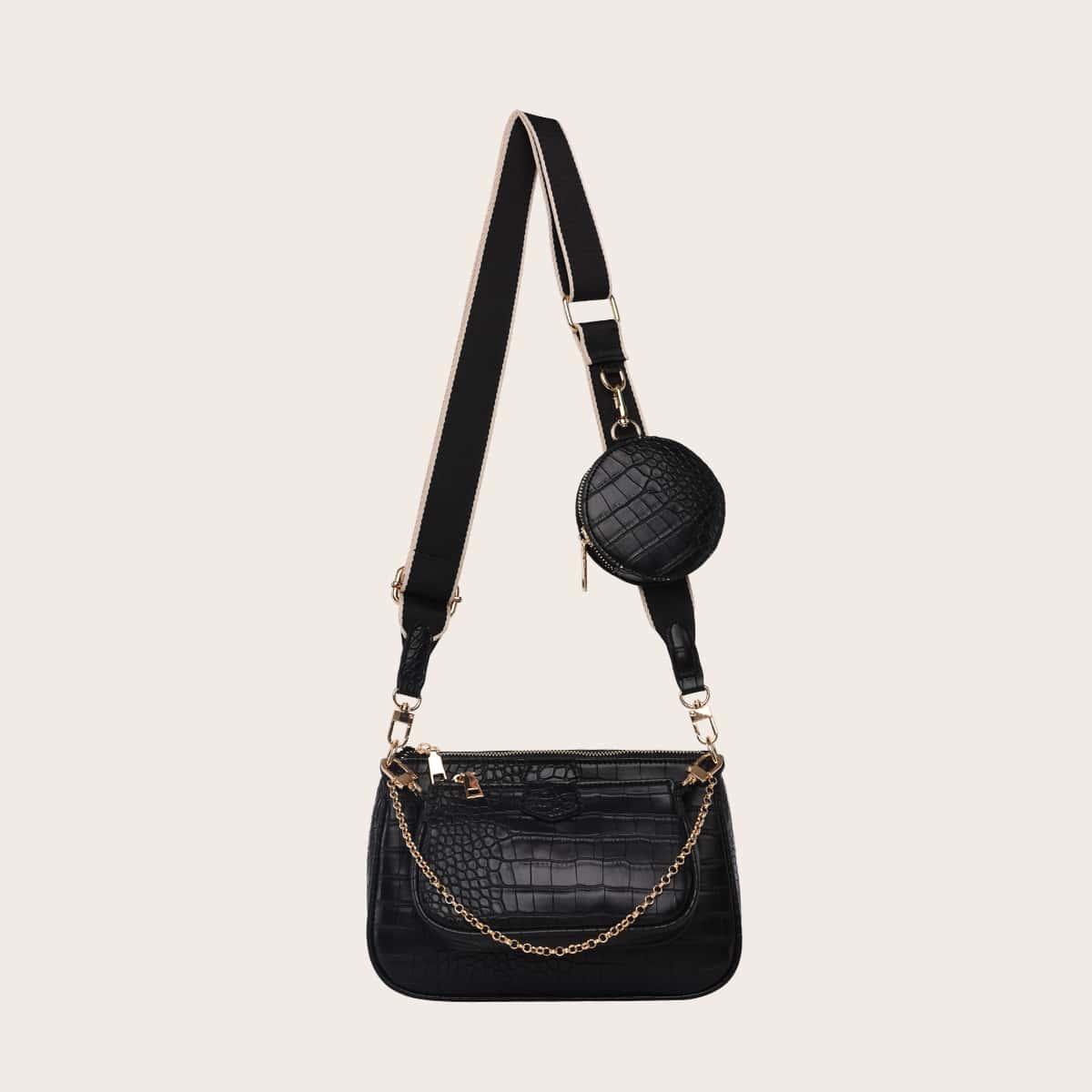 3шт сумка через плечо с рельефным узором и мешком