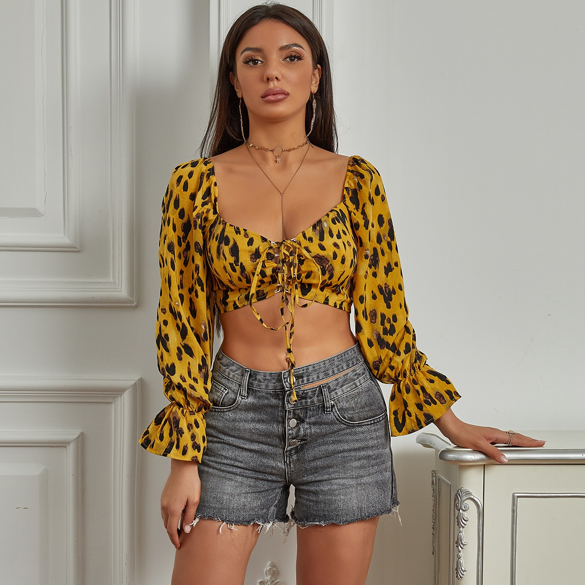 Yilibasha Lace Up Flounce Sleeve All Over Print Top, SHEIN  - buy with discount