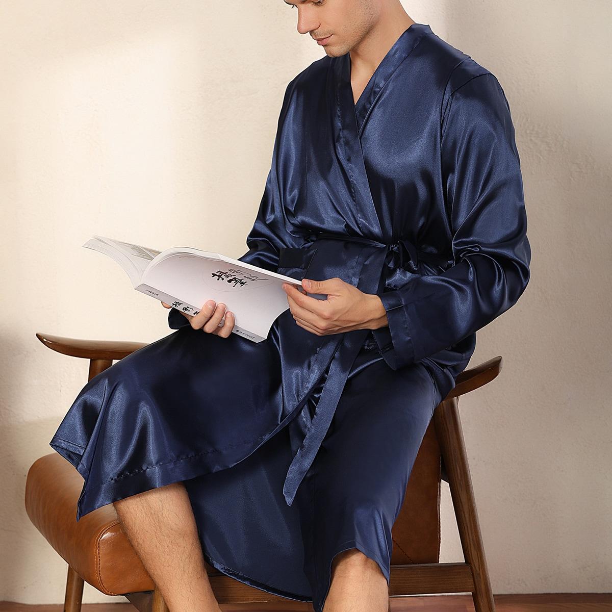 Темно-синий с карманами Одноцветный Повседневный Мужская домашняя одежда