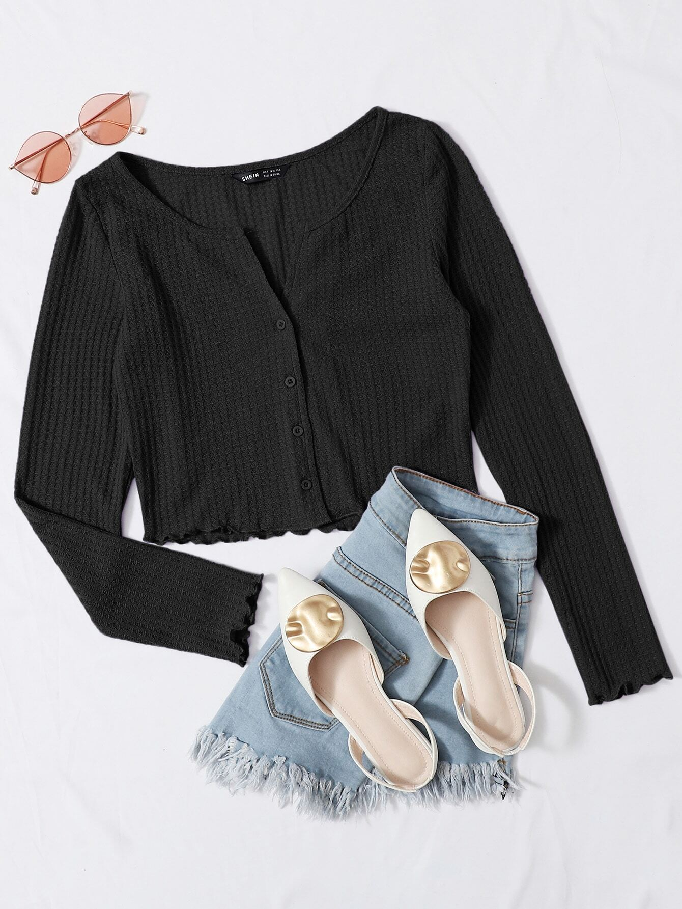 Button Front Lettuce Edge Waffle Knit Tee thumbnail