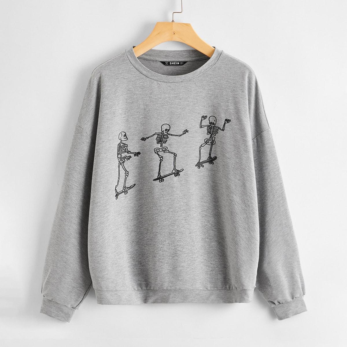 Пуловер с принтом черепа