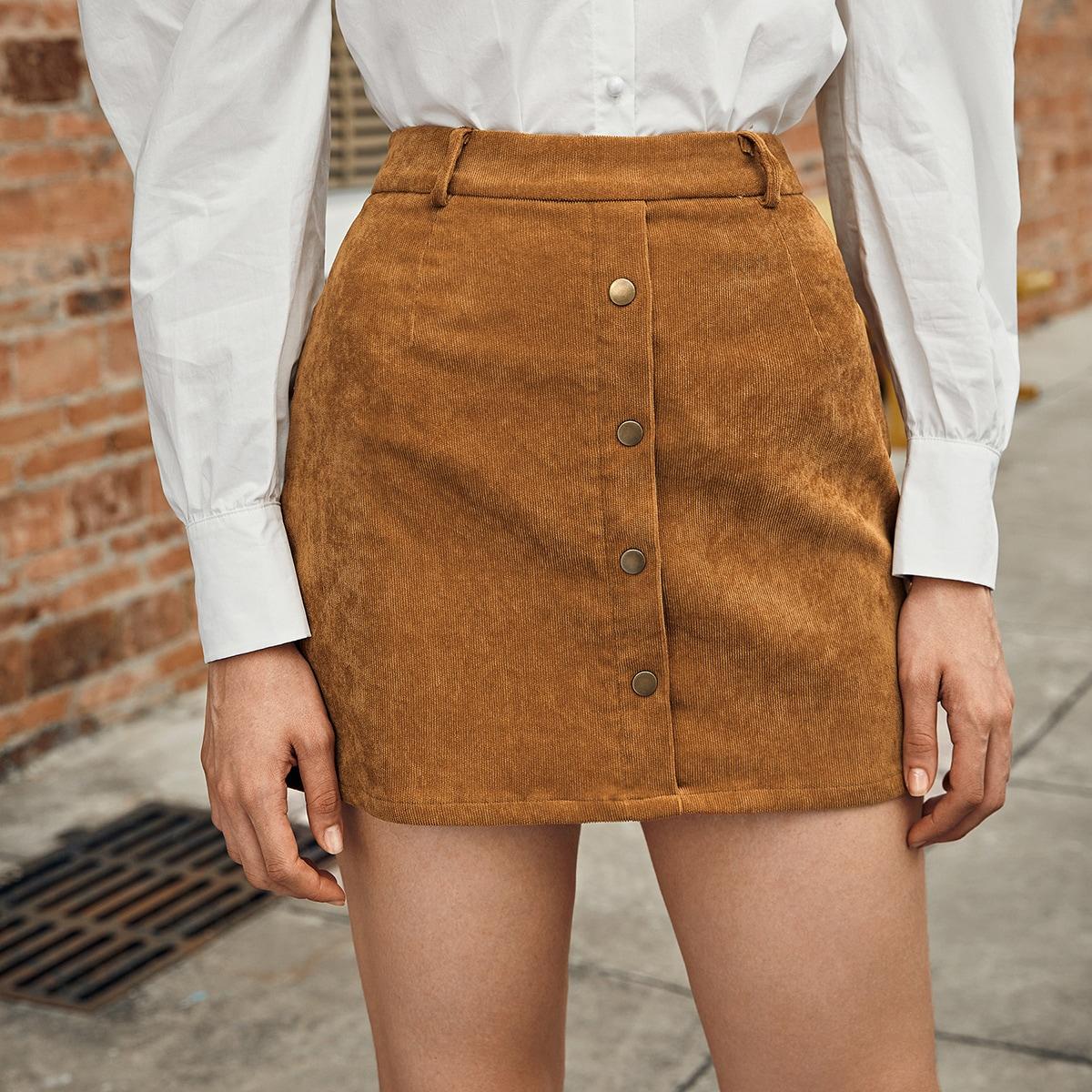 Однотонная вельветовая юбка с пуговицами