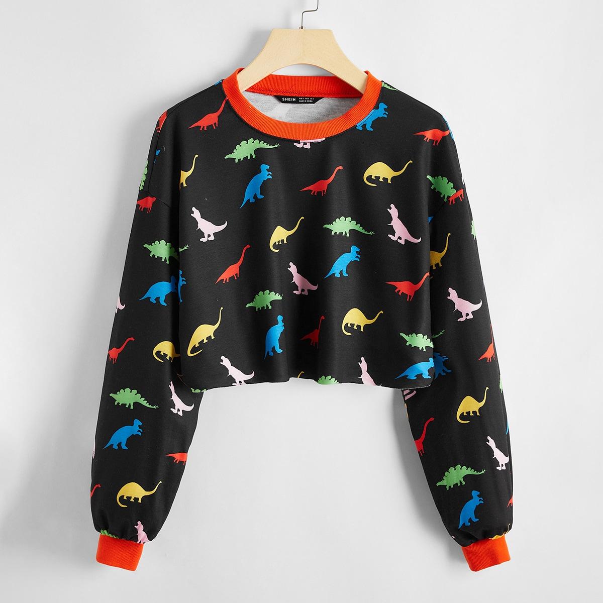 Кроп пуловер с принтом динозавра