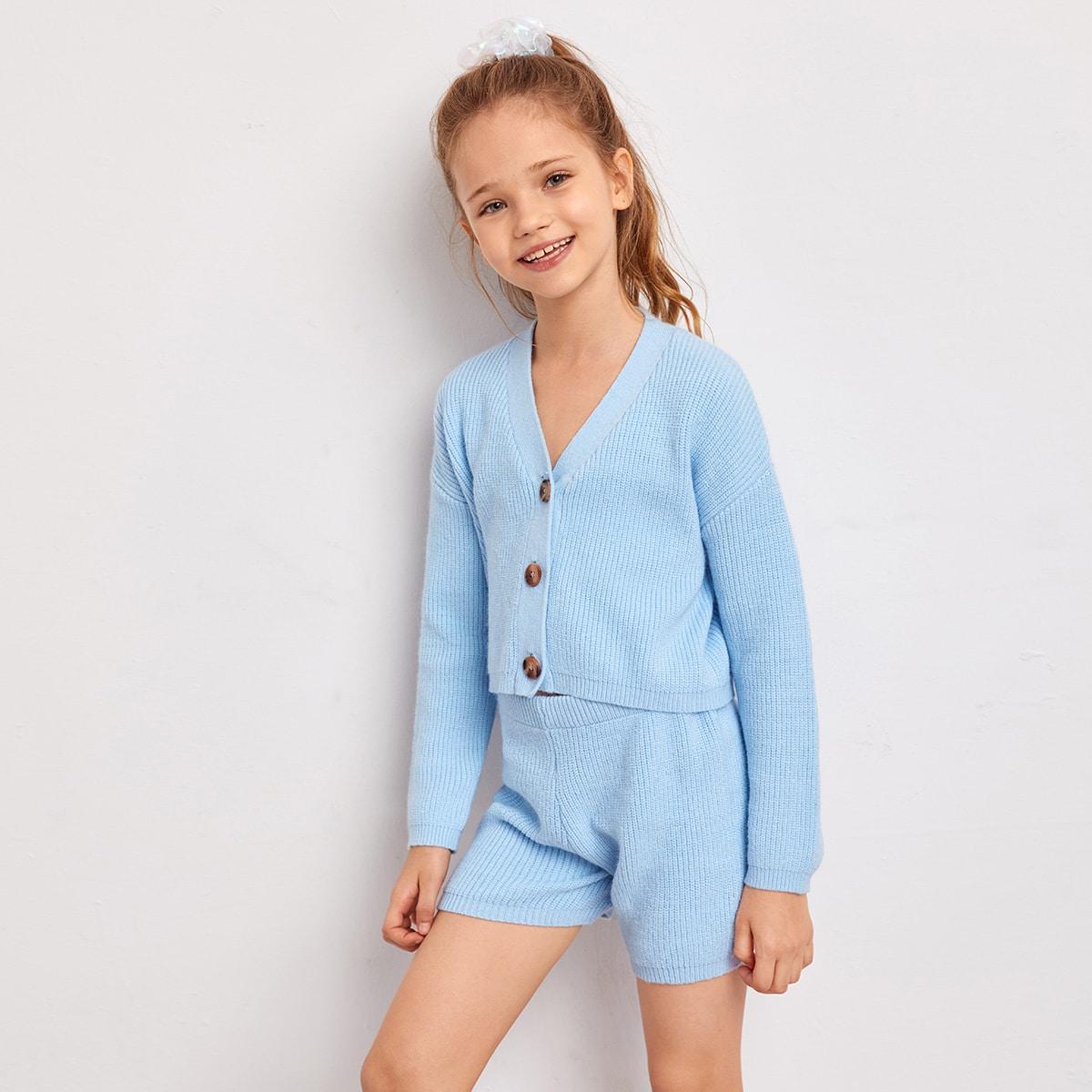 Кардиган с пуговицами и шорты для девочек