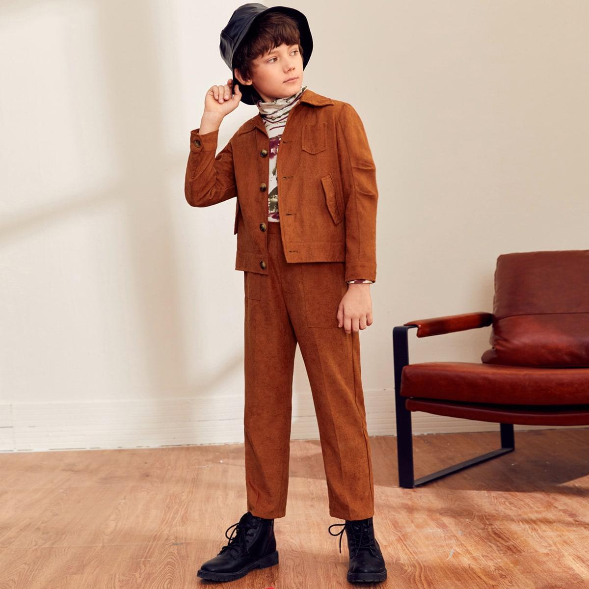 Брюки и куртка с карманом, пуговицами для мальчиков