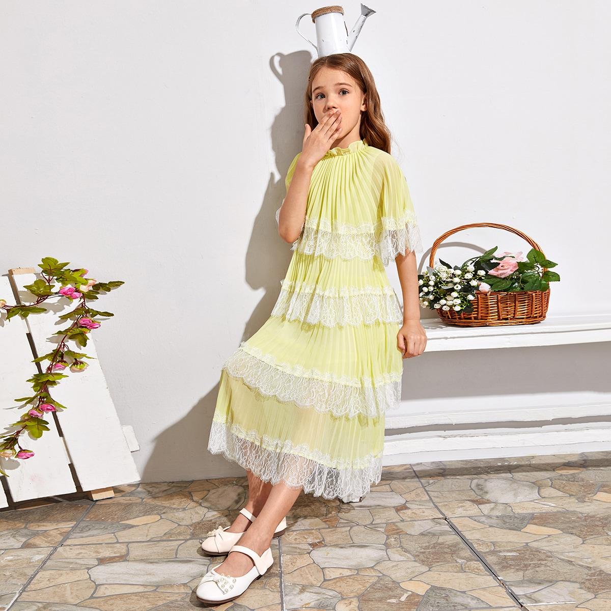 Плиссированное многослойное платье с кружевной отделкой для девочек