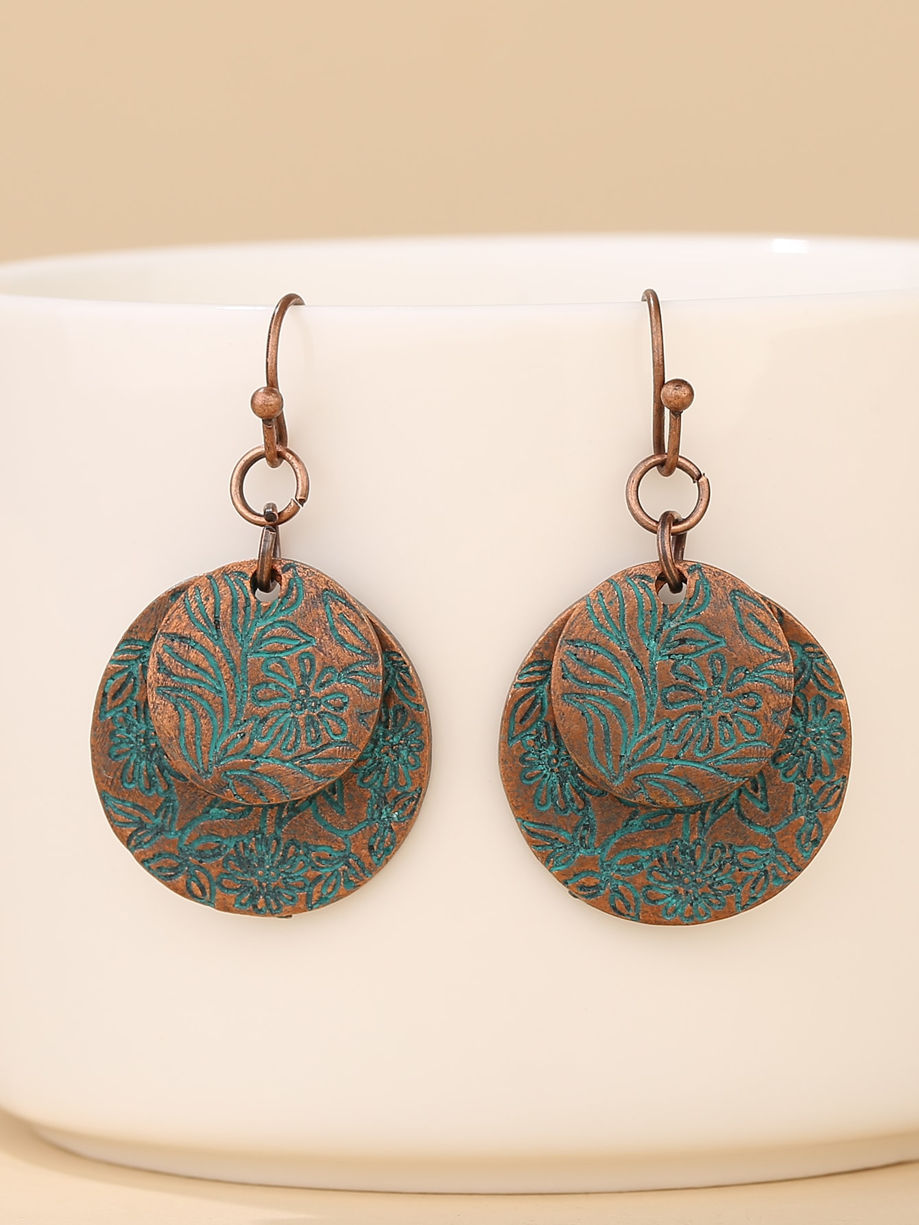 Floral Pattern Round Drop Earrings thumbnail