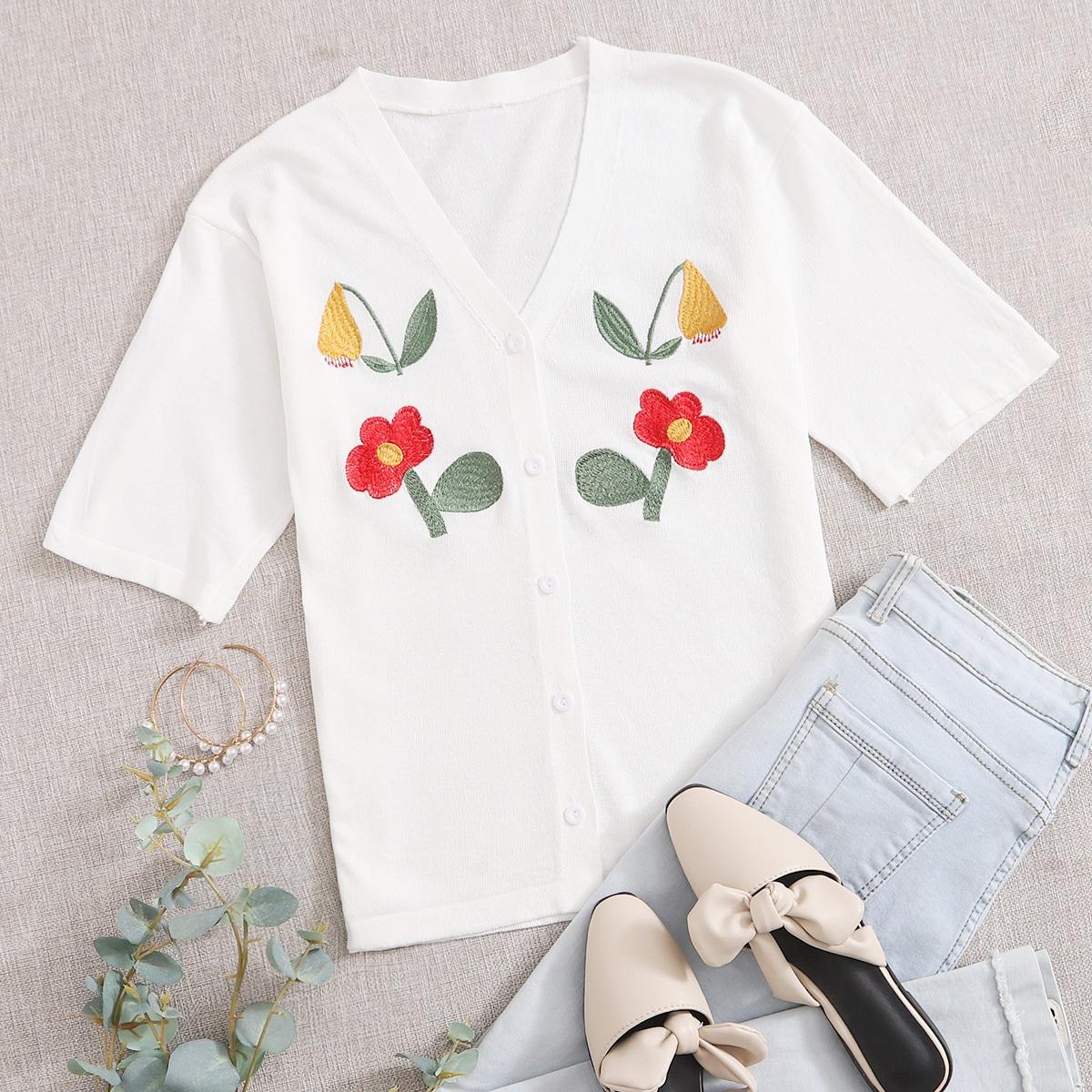 Кардиган с пуговицами и цветочной вышивкой