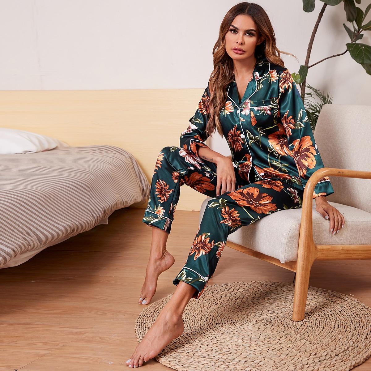 с карманами Цветочный принт Элегантный Ночная пижама
