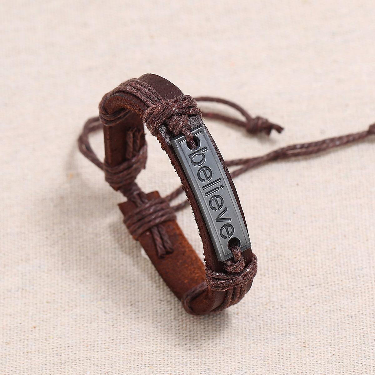 Плетеный браслет с буквами