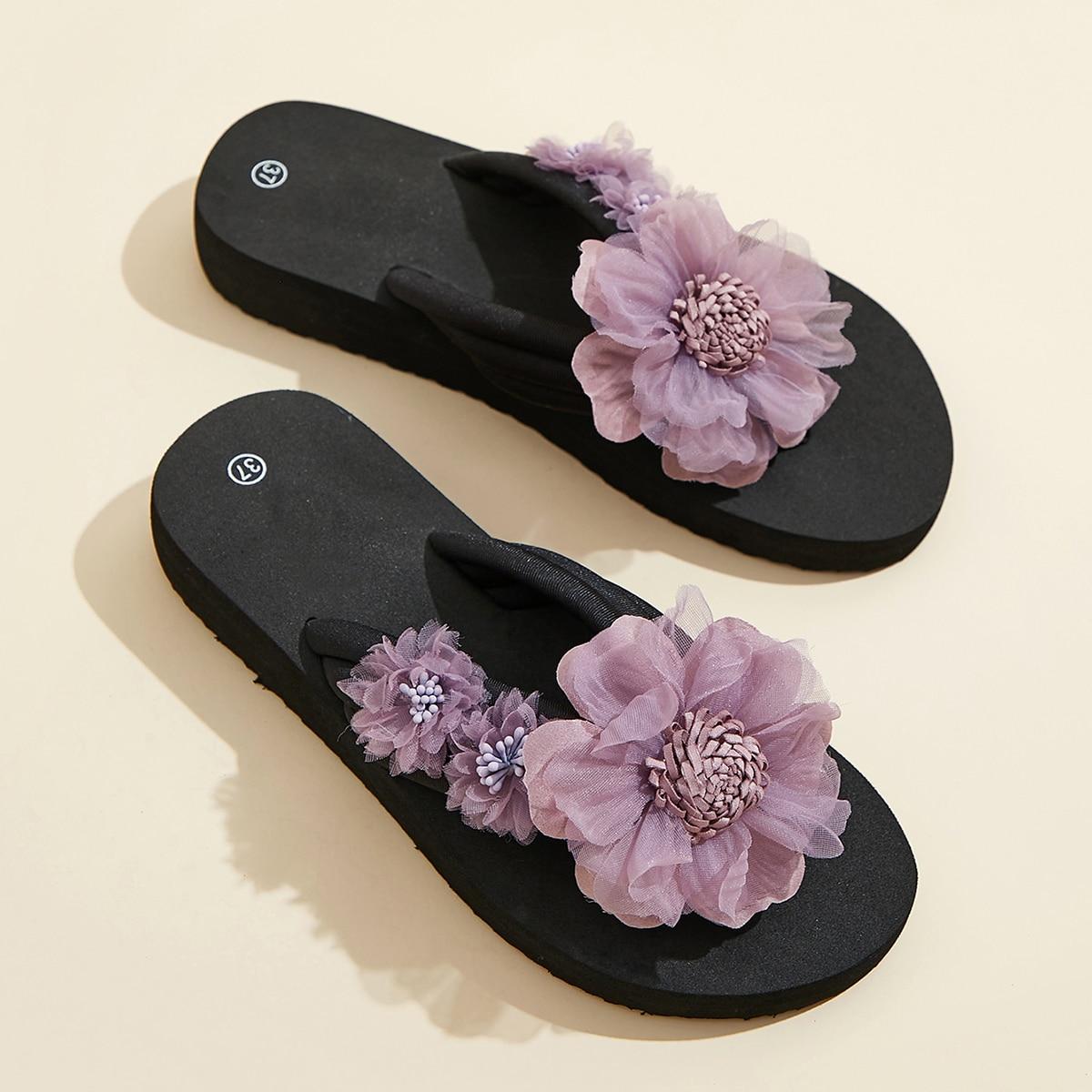 Шлепанцы с цветком SheIn swshoes03200713293