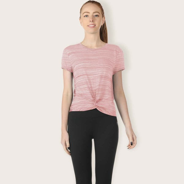 Twist Front Striped Sports Tee, Baby pink