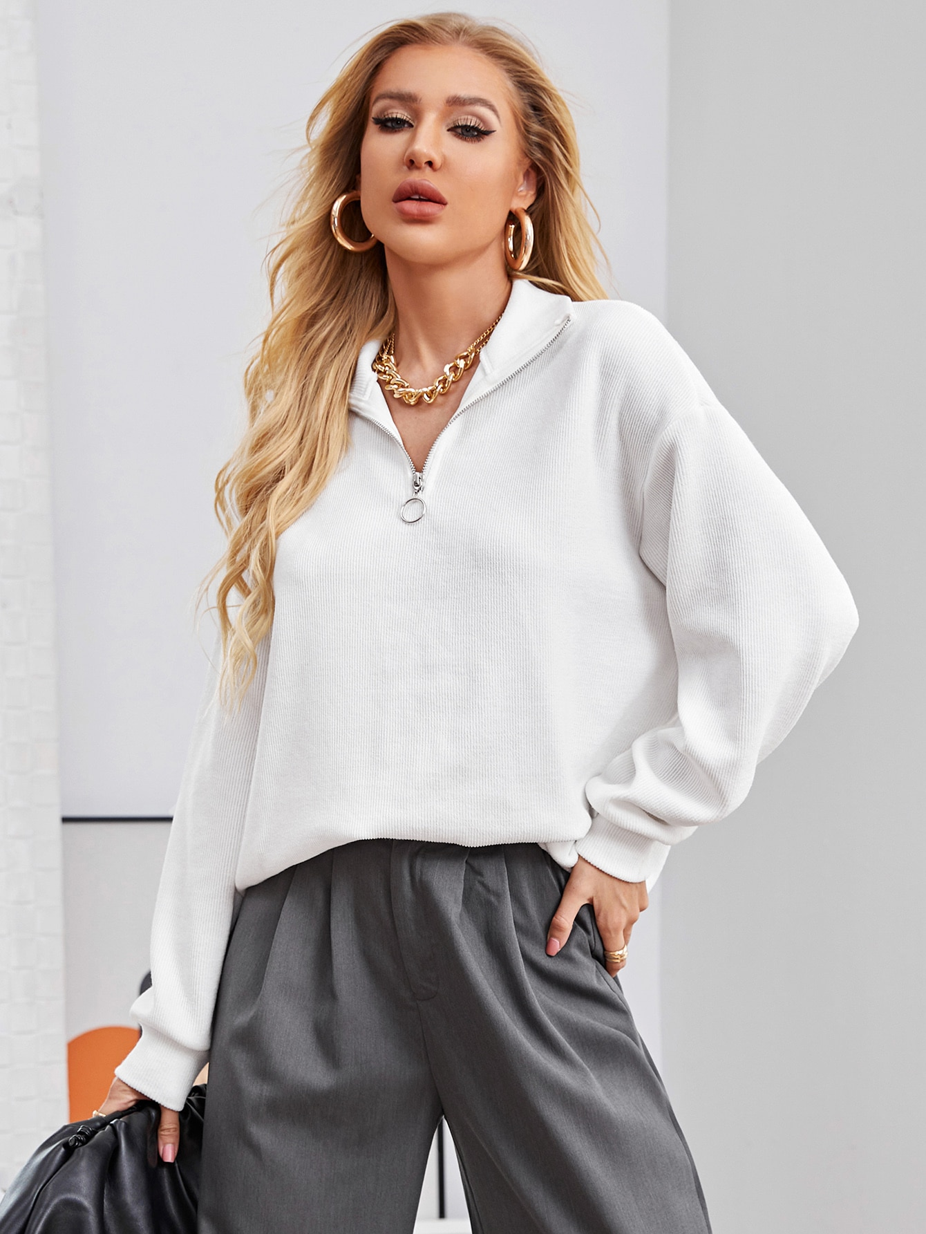 Zip Half Placket Drop Shoulder Pullover thumbnail