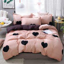 Heart Print Bedding Set Without Filler