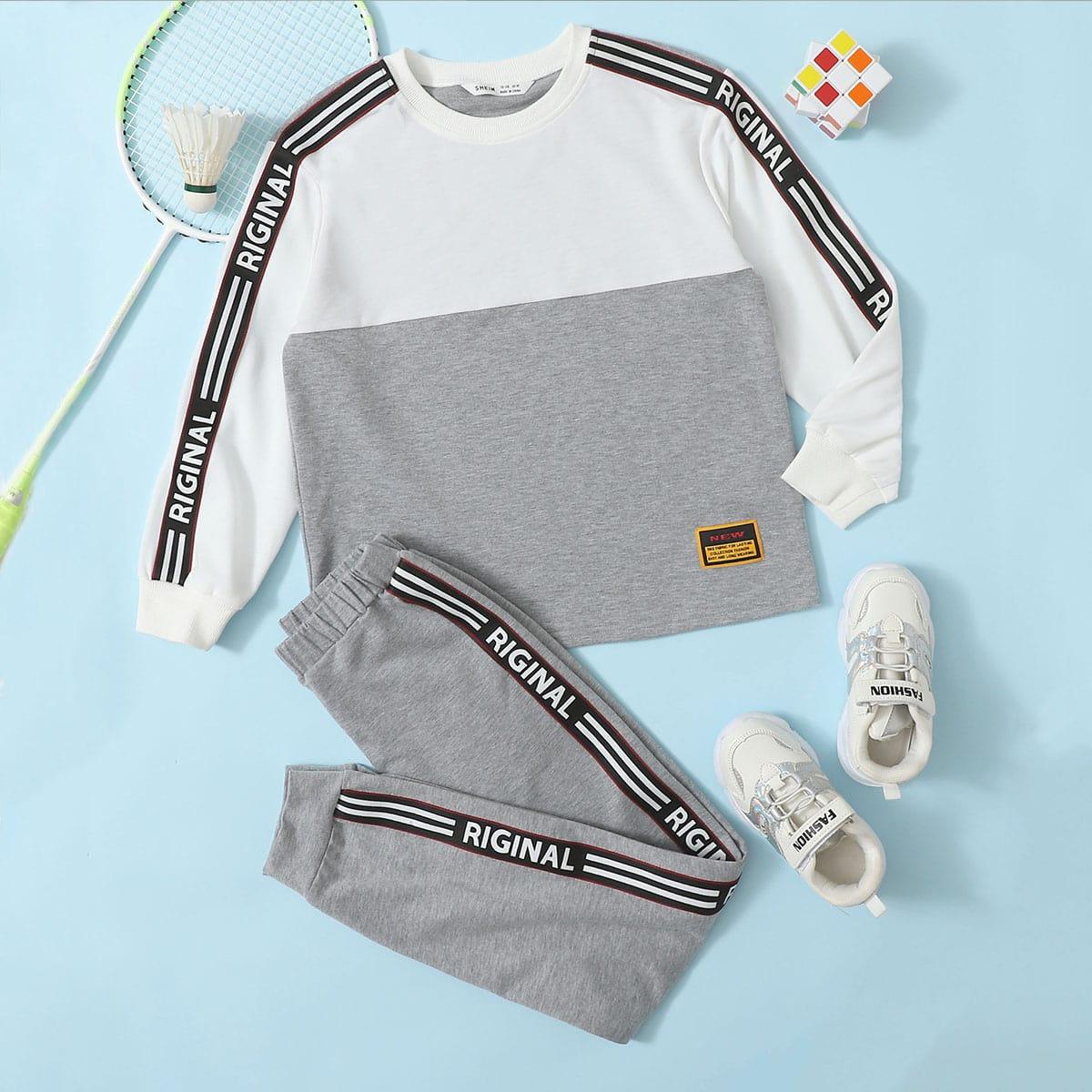 Спортивные брюки и пуловер с текстовой лентой для мальчиков