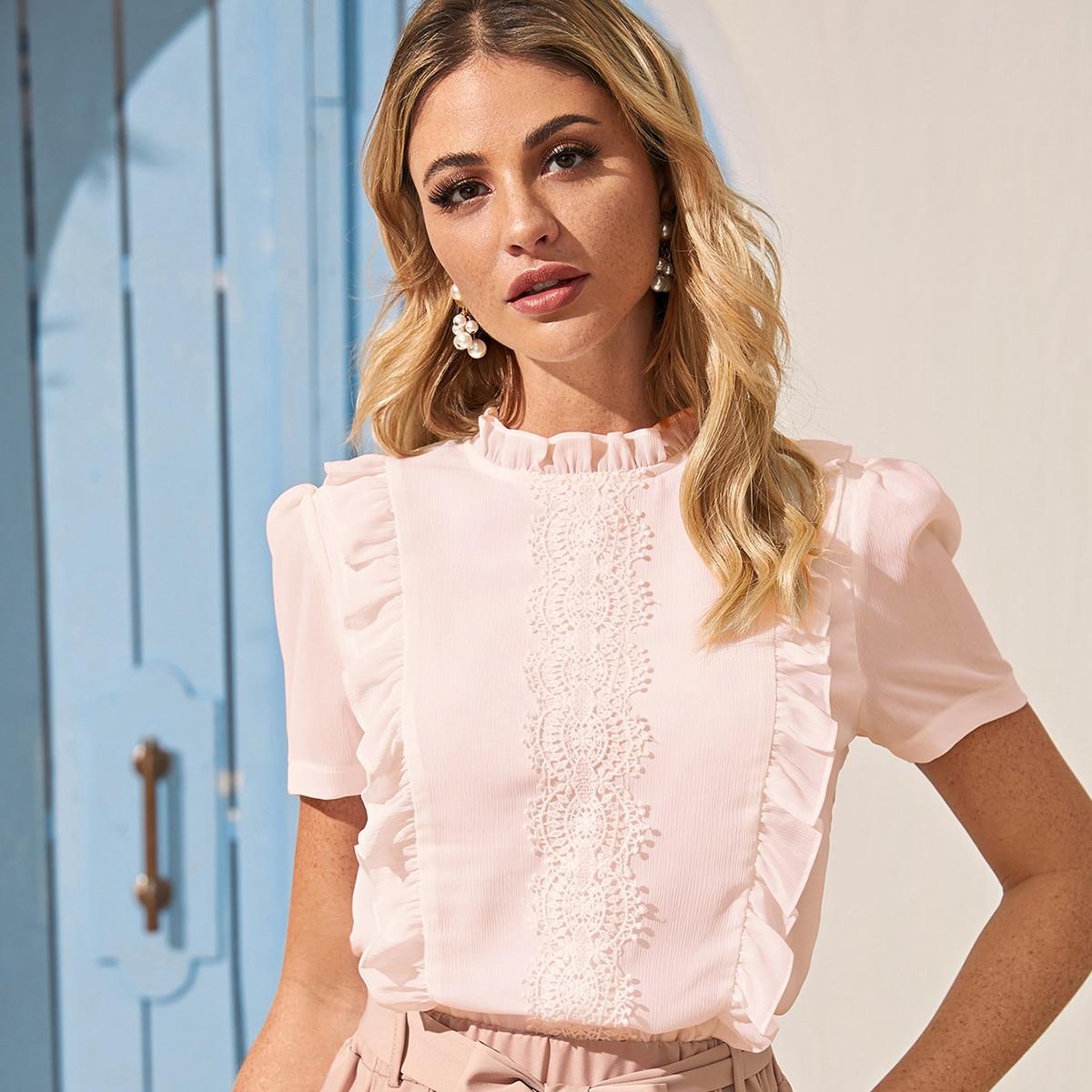 Нежний Розовый Кайма Одноцветный Элегантный Блузы SheIn swblouse00200714004