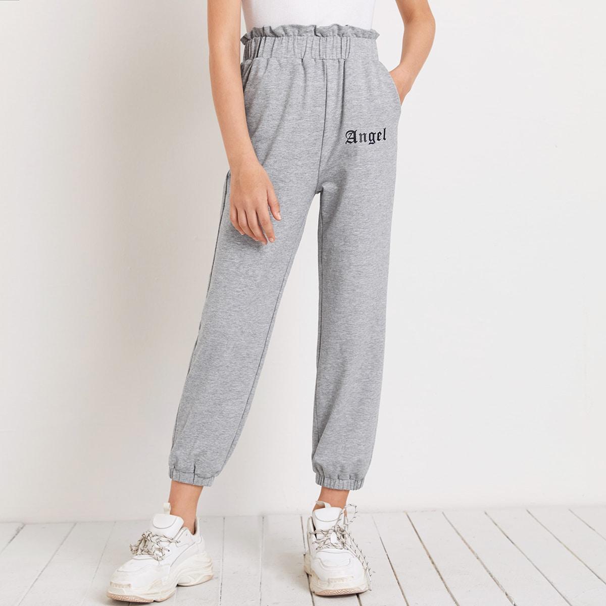 Спортивные брюки с текстовым принтом для девочек