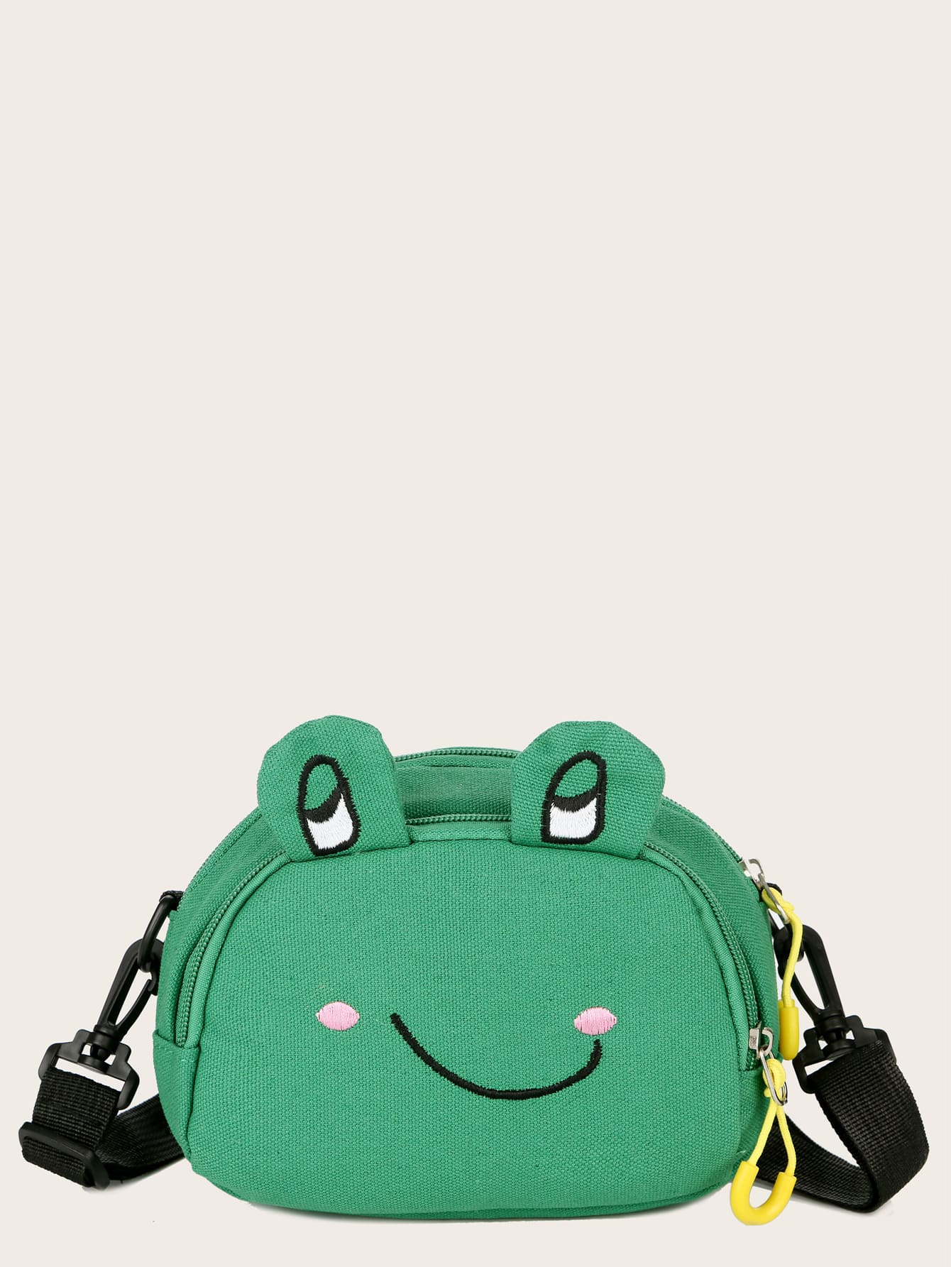 Cartoon Frog Design Canvas Crossbody Bag thumbnail