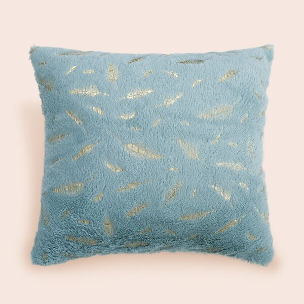 1pc Feather Hot Stamping Cushion Cover Without Filler, Blue