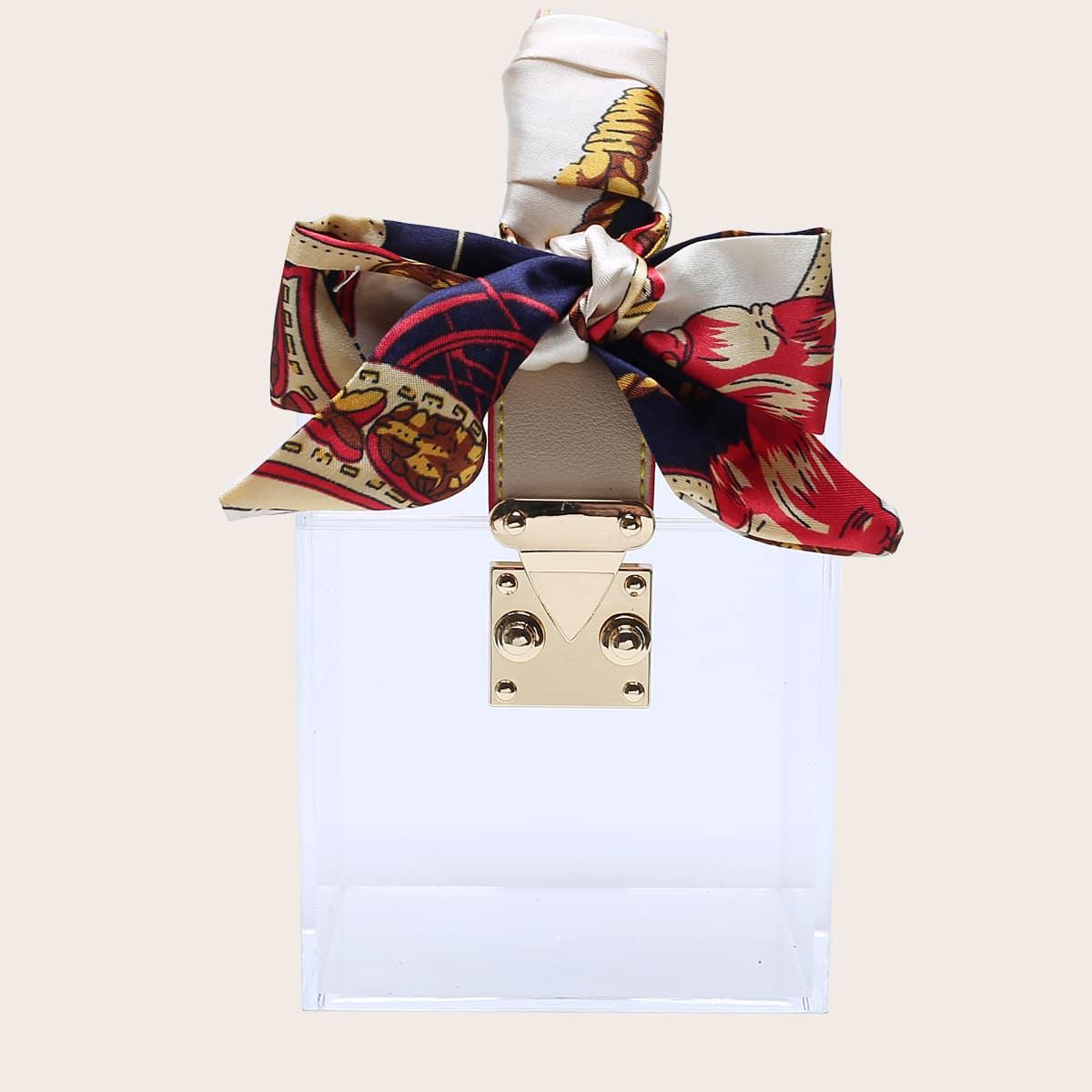 Mini sac en boîte transparent à foulard