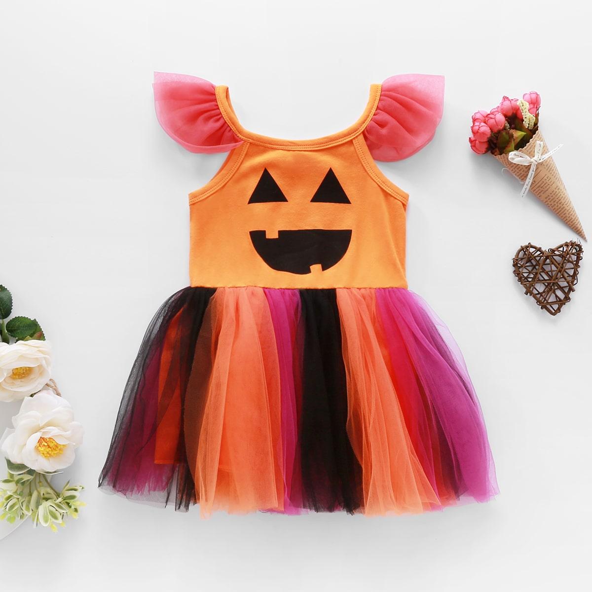 """Платье с принтом """"хэллоуин"""" и сетчатой вставкой для девочек"""