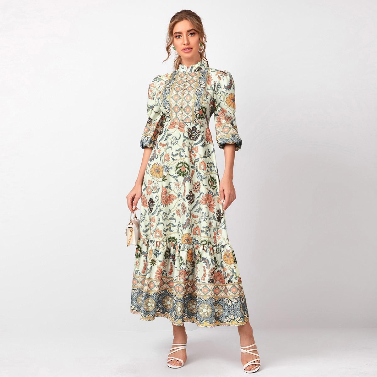 Платье с пышными рукавами и графическим принтом