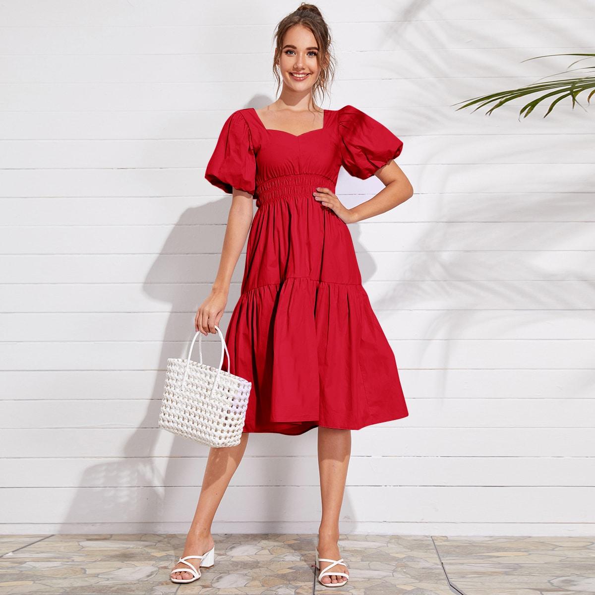 Красные Низ-оборка Одноцветный Винтажный Платья