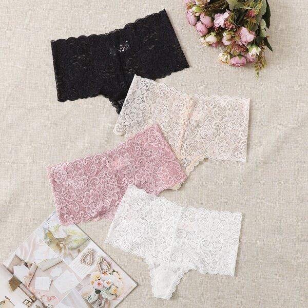 4pack Floral Lace Shortie Panty Set, Multicolor