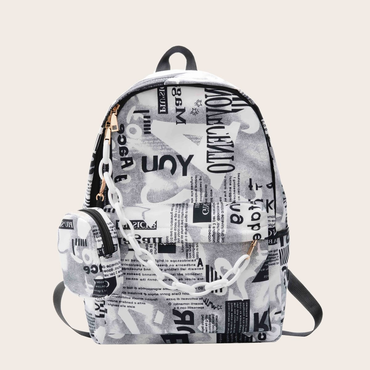 Рюкзак с текстовым принтом и футляром для монет