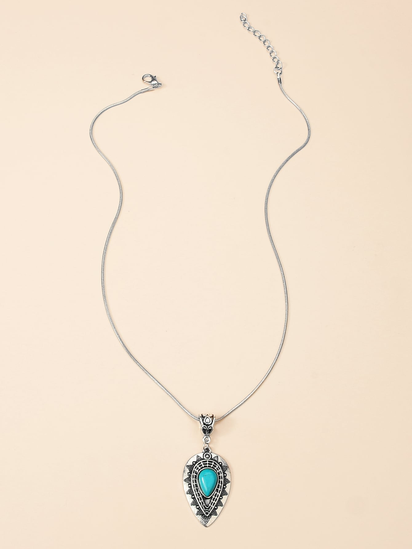 Water Drop Turquoise Inlaid Pendant Necklace thumbnail
