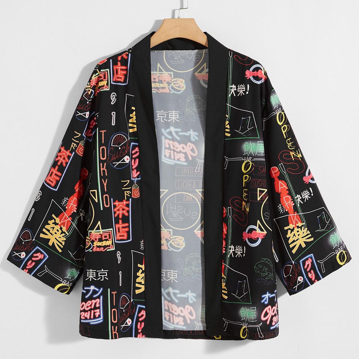Черный Текст Улица Мужские рубашки SheIn smshirt01200710361